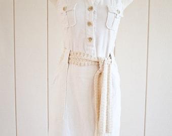 Ivory Crochet Boho Bohemian Style Cotton Belt | One Size Fits Most
