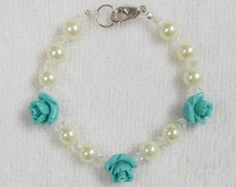 Girls Bracelet - Childs Bracelet - Beaded Bracelet For Girls - Girls Jewelry - Turquoise Bracelet - Flower Bracelet - Flower Girl Bracelet