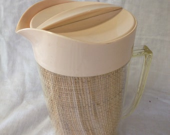 Vintage Juice Pitcher with Burlap Lining/Clear plastic handle