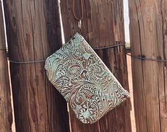 Handmade Mint and Brown Tooles Printed Leather Wristlet Bag