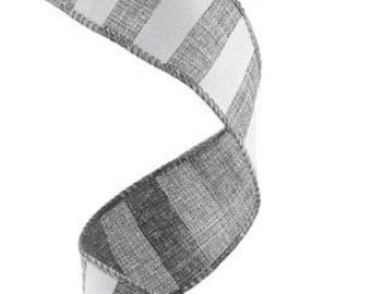 1.5 Inch Grey White Horizontal Stripe Ribbon RX9148R7, Deco Mesh Supplies