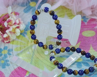 Natural Tiger eye and Lapis Lazuli stone with a charm bracelet