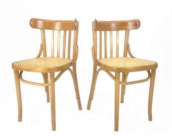 Vintage Pair of Romanian Maple Bentwood & Cane Side Chairs