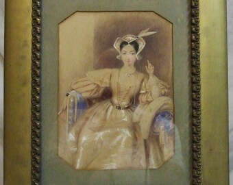 Original old watercolour portrait lady period costume framed Worldwide shipping Mothers Day Gift