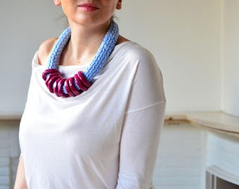 Modern  necklace, cotton necklace, chunky necklace statement, light blue accessory, stand out necklace, extra large necklace, bold necklace
