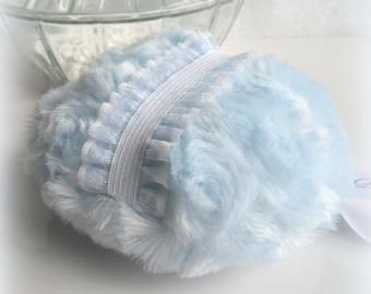 Blue Powder Puff - ice blue powder pouf - bleu bath puff - powderpuff, gift box option - handmade by Bonny Bubbles