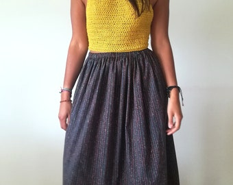 Cotton long skirt with ethnic fantasy
