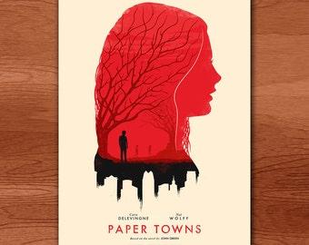 Paper Towns 'Memories' Movie Art Print - Regular Version - Red (Cara Delevingne Silhouette)