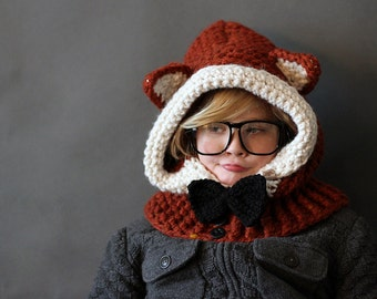 Crochet Cowl PATTERN Crochet Cowl Pattern Hooded Fox  Sizes 1 Year to Adult Included