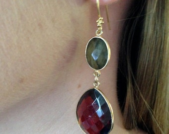 Garnet Quartz and Labradorite Faceted Natural Genuine AAA Bezeled with 18K Gold Vermeil Dangle Drop Earrings