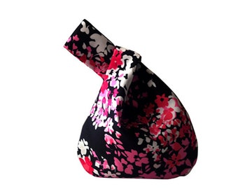 Pretty n Pink Mini Knot Bag, Japanese Knot Bags, Floral Knot Style Bags, Wristlet Bags, Floral Handbags, Evening Bags