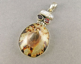 Vintage Sterling Pendant With Mother Of Pearl And Garnets Statement Jewelry