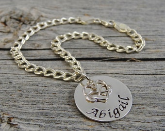 Hand Stamped Jewelry - Personalized Jewelry - Mom Bracelet - Sterling Silver Charm Bracelet - 1 to 6 charms -  Name and Infinity Heart Charm