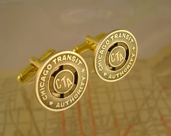 Windy City - Vintage Authentic Chicago Transit Authority Subway Token Cufflinks, Man Gift, Groomsman Gift