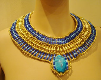 Ancient Egyptian Beaded Cleopatra Large Scarabs Necklace Collar