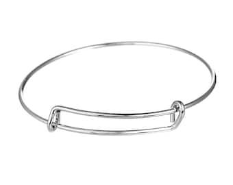free shipping in UK - pack of 2 - Adjustable Bangle Silver Tone Bracelet