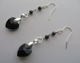 Handcrafted Silver Tone Black Glass Beads Earrings