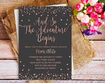 rose gold  adventure invitation, rose gold bridal shower adventure invitation, gold rose glitter bridal shower invite, rose gold & dark grey
