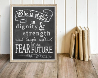 PRINTABLE, Bible Verse, She is Clothed in strength and dignity, Proverbs 31:25, INSTANT DOWNLOAD