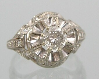 18K White Gold Dome Shaped Diamond(0.70 carat) with accent diamonds Ring,Size 5 1/2