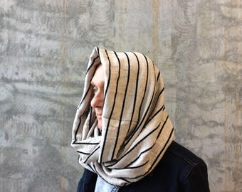 Coffee and black striped woolen scarf