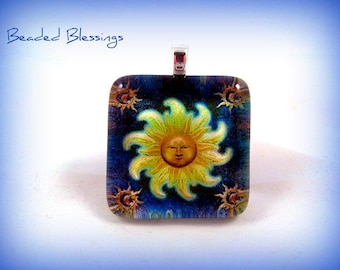 Golden Rays Of Peace Glass Tile Pendant