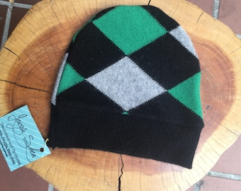 Small cashmere patchwork beanie-kids hat-100 percent cashmere-argyle-recycled sweater-childrens hat-unisex