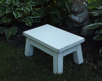 "Reclaimed wood/ painted furniture/ wood riser/ step stool/ footstool/ solid wood 8"" - 10"" H"
