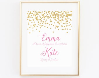 DIGITAL Name Meaning Monogram Art, Gold Pink Girl Nursery Print, Wall Decor, Custom Calligraphy Monogram, Pink Nursery Name Print - ANY SIZE