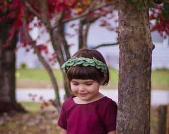 Soft wool felt green leaf halo headband crown