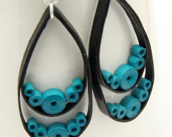 Big Black Teardrop Earrings with Turquoise circles Niobium Eco Friendly Artisan Jewelry hypoallergenic