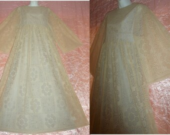 "Angel Sleeves Maxi Dress 1960's Vintage Long Cream Floral Lace over Blue Satin Floor Length Hippie Wedding 60s Belled M/Medium 34"" Bust"