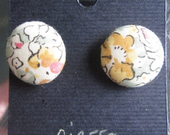 Button Earrings Liberty of London Tana Lawn Cotton Claire-Aude T peach blush pink apricot orange cream white ivory watercolor floral wedding