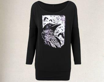 handprinted longpullover crow raven occult