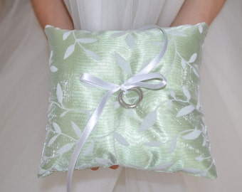 """Ring bearer pillow Ring pillow Olive color with White leaves green Wedding cushion Ring Bearer Cushion Ring pillow 5.5"""" x 5.5"""""""