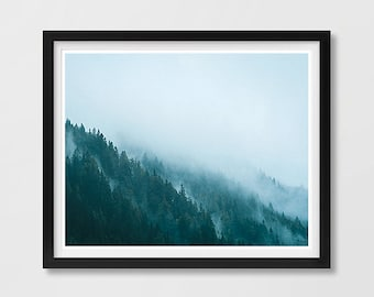 Minimalist Forest Print, Forest Printable, Landscape Printable, Tree Art Print, Forest Fog Print, Blue Printable Art, Forest Poster, Print