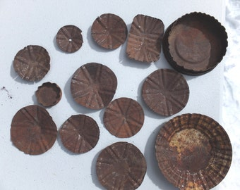 Altered for you!  13 Awesome Rusty Can Lids/Rusty Pieces-craft project, mixed media, folk art, altered art