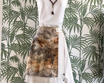 Linen Eco Dye Wrap Over Skirt