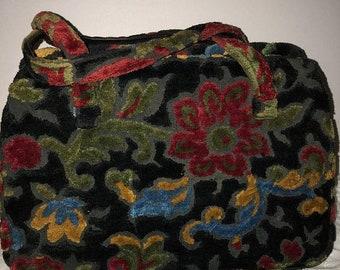 Vtg fabric purse, floral and black bag, handbag, carpet bag, chenille bag, 40-50s purse, colorful pocketbook