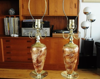 Pair of vintage Ceramic & Brass table lamps/ Hollywood Regency/ Atomic