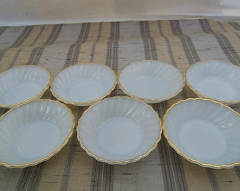 7 Vintage Anchor Hocking Fire King White Swirl Milk Glass Scalloped with Gold Trim Berry Desert Bowls