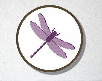 Counted Cross stitch Pattern PDF. Instant download. Dragonfly. Includes easy beginners instructions.
