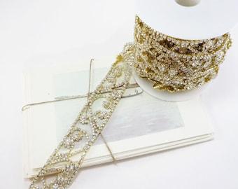 Gold Rhinestone Vine Scroll Trim, Rhinestone Chain, Wedding Rhinestone Trim, Clear Crystal Trim, 28mm ( 1 Feet Qty)