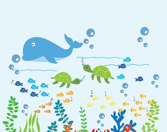 Kids Dolphin Wall Decal Ocean Nursery Decal Fish Wall Decals