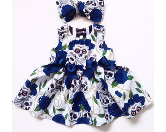 Skeletots skull & rose tattoo dress baby girl goth rockabilly ages 0-24m