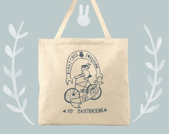the bunny cycle coalition rabbit bike fan tote bag
