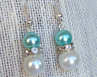 Seafoam Mint Green Bridesmaid Pearl Earrings Rhinestone Earrings Bridesmaid Gift Seafoam Mint Green Wedding Jewelry