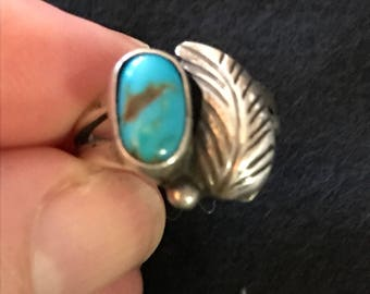 Small Turquoise Ring with Silver Feather Accent