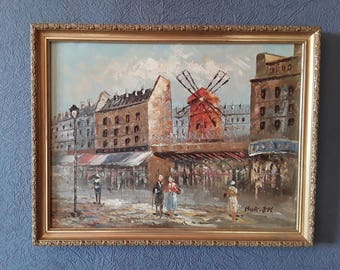 """The Moulin Rouge /  French Oil Painting signed by """"Burnett"""""""