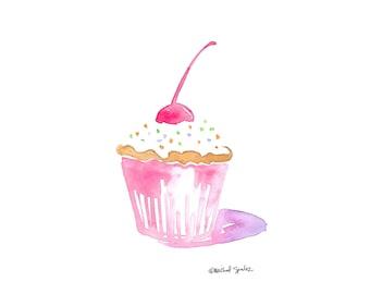 Cupcake Art, Digital Download Watercolor Art, Cup Cake Art 8x10